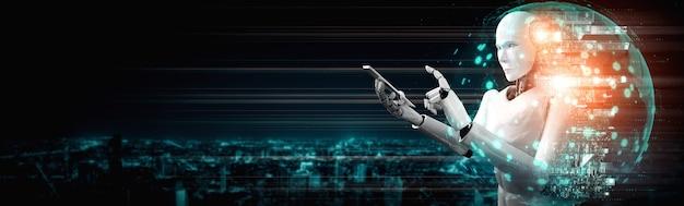 Робот-гуманоид использует мобильный телефон или планшет для подключения к глобальной сети