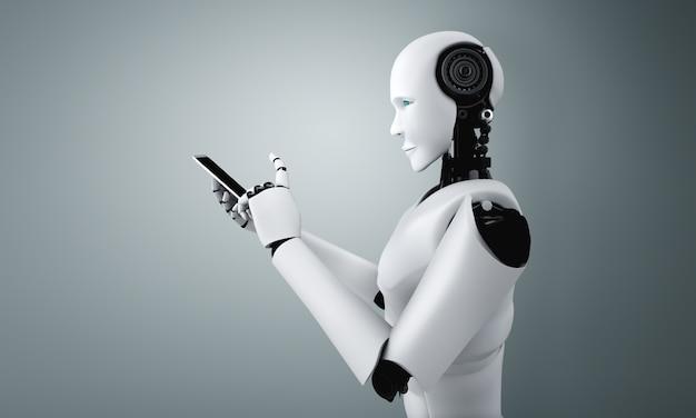 Робот-гуманоид использует мобильный телефон или планшет в офисе будущего, используя интеллектуальный мозг