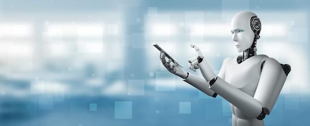 Робот-гуманоид использует мобильный телефон или планшет в будущем офисе