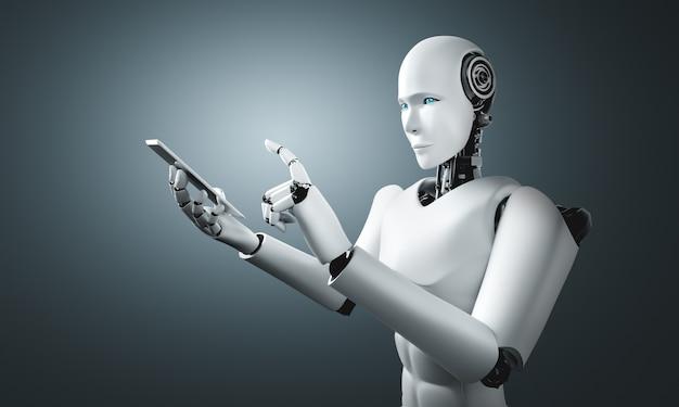 ロボットヒューマノイドは将来のオフィスで携帯電話やタブレットを使用します