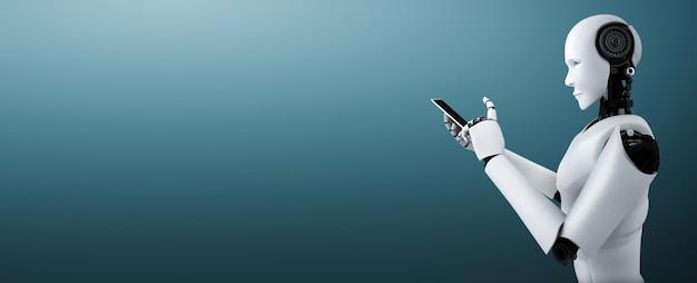 로봇 휴머노이드는 미래 사무실에서 휴대 전화 또는 태블릿을 사용합니다.