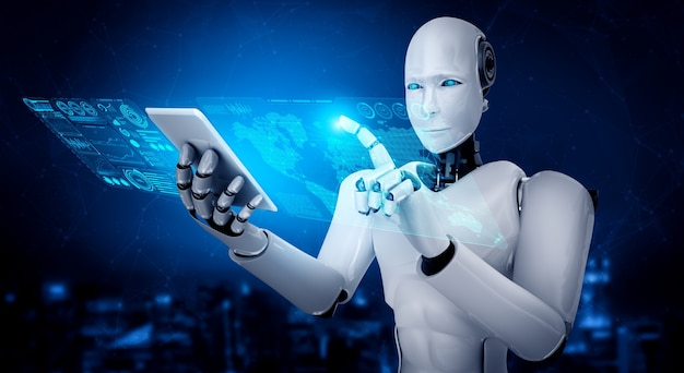 Robot humanoid use mobile phone or tablet for big data analytic using ai thinking brain