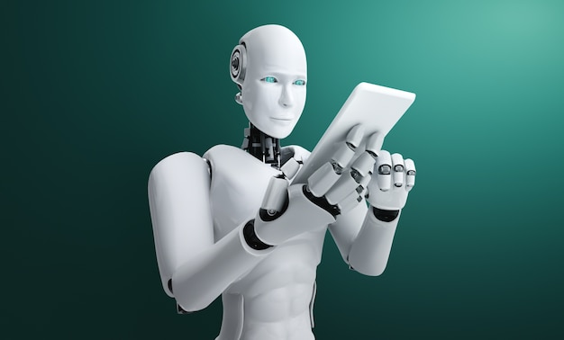 Robot humanoid use mobile phone or tablet in future office