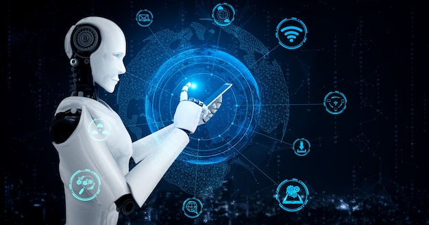Robot humanoid use mobile phone or tablet for global network connection