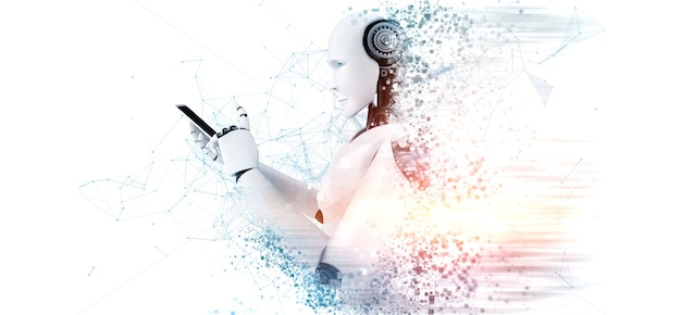 Робот-гуманоид с помощью мобильного телефона или планшета