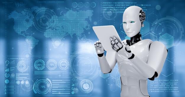 Robot humanoid using tablet computer for big data analytic