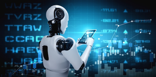 Robot humanoid using tablet computer in concept of stock market trading