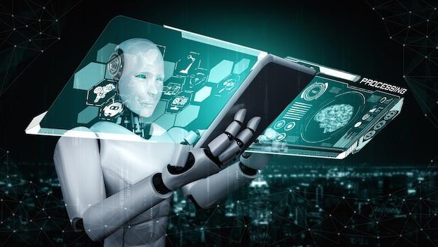 ビッグデータ分析のためのタブレットコンピューターを使用したロボットヒューマノイド