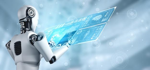 빅 데이터 분석을 위해 태블릿 컴퓨터를 사용하는 로봇 휴머노이드
