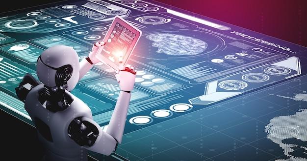데이터 분석을 위해 태블릿 컴퓨터를 사용하는 로봇 휴머노이드