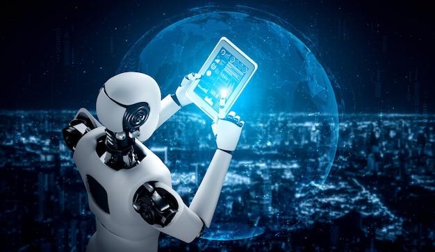 글로벌 네트워크 연결을 위해 태블릿 컴퓨터를 사용하는 로봇 휴머노이드