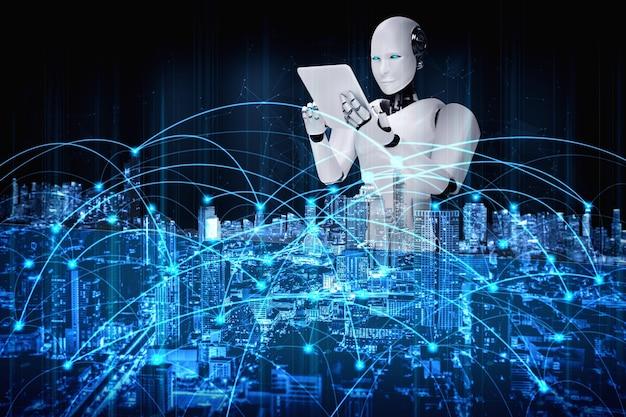 Робот-гуманоид с помощью планшетного компьютера для подключения к глобальной сети