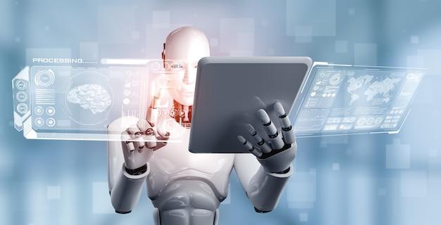Ai 사고 두뇌의 개념에서 태블릿 컴퓨터를 사용하는 로봇 휴머노이드