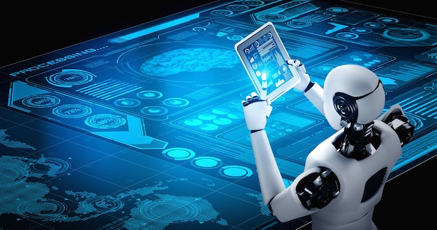 Робот-гуманоид с помощью планшетного компьютера в концепции искусственного интеллекта