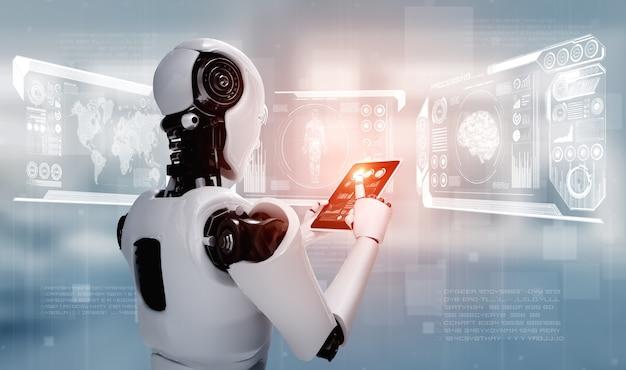 Робот-гуманоид с использованием планшетного компьютера в концепции искусственного мышления мозга