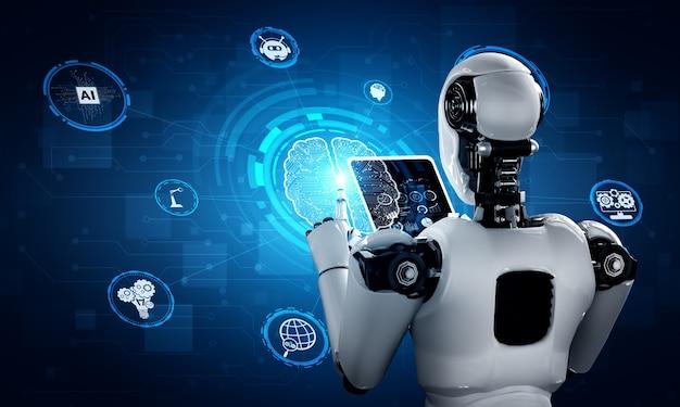 Робот-гуманоид с использованием планшетного компьютера в концепции искусственного интеллекта