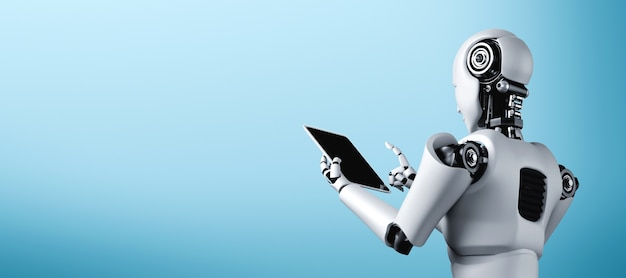Робот-гуманоид, использующий планшетный компьютер в офисе будущего, с мыслящим мозгом ии