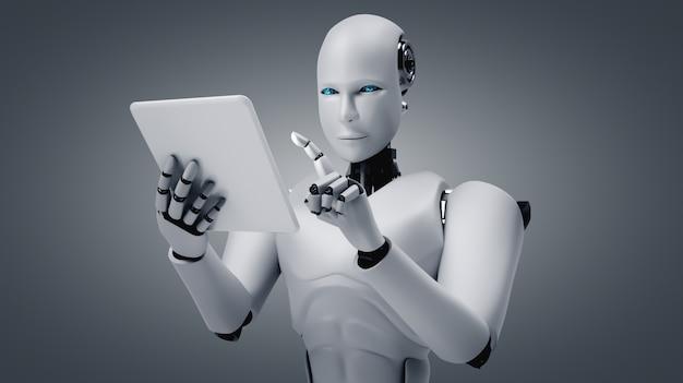 Ai思考脳を使用しながら将来のオフィスでタブレットコンピューターを使用してロボットヒューマノイド
