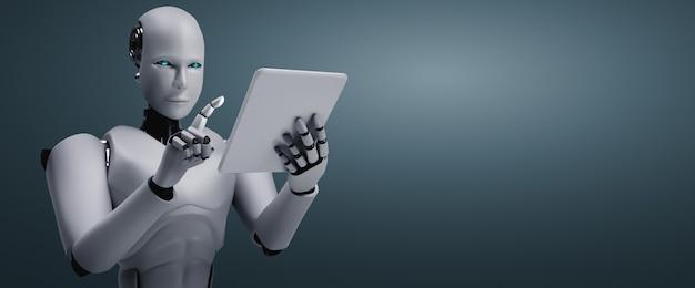 Робот-гуманоид с помощью планшетного компьютера в офисе будущего