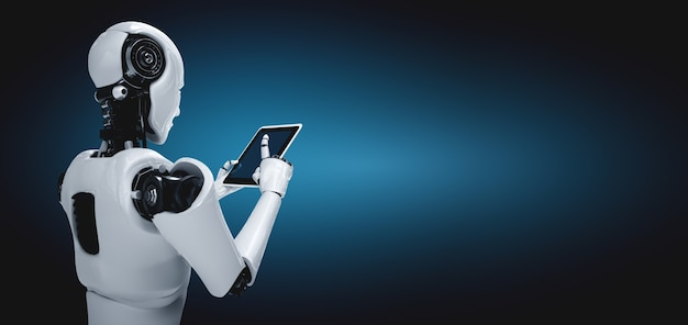 미래 사무실에서 태블릿 컴퓨터를 사용하는 로봇 휴머노이드