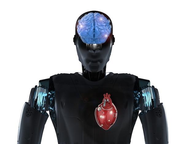 로봇 심장과 뇌가 있는 3d 렌더링 인공 지능 로봇을 사용한 로봇 발명 개념