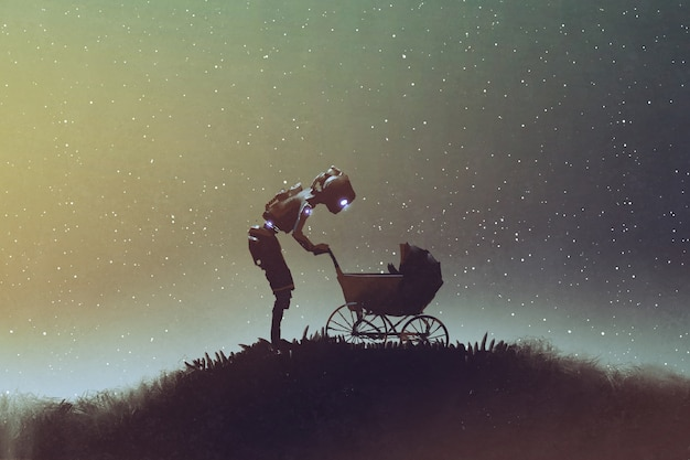 Robot looking at baby in a stroller