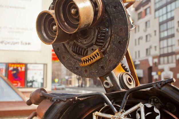 Robot made of rusty metal. close up head of robot.
