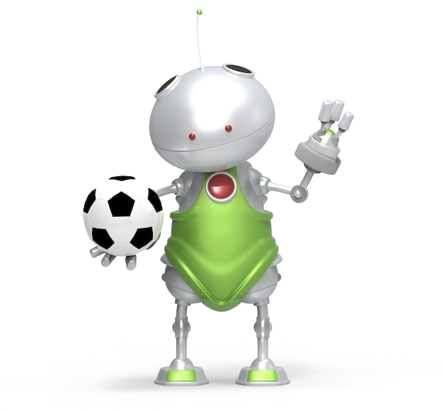Robot playing football, white isolated
