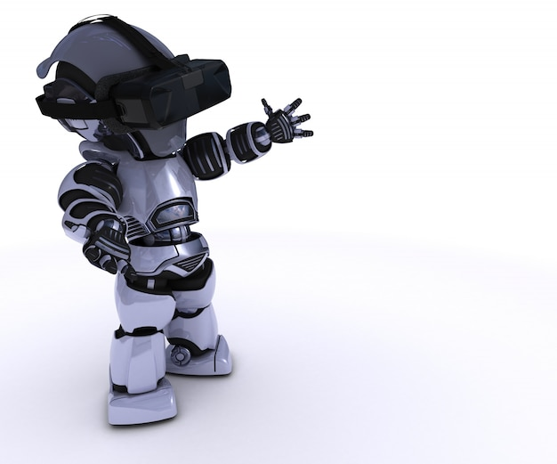 Robot playing in virtual reality Free Photo