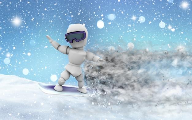 Robot practicing snowboard