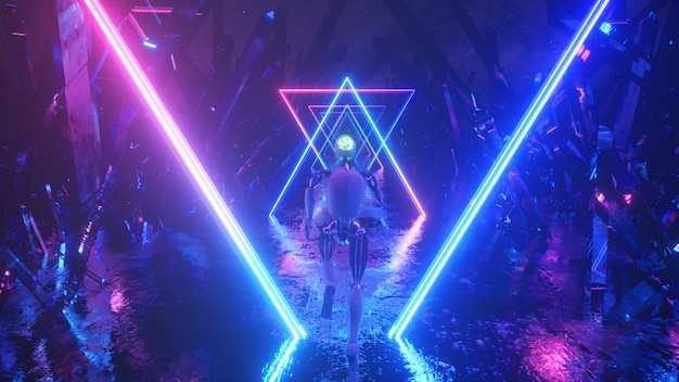 Robot running in abstract outer space along neon geometric shapes and crystals.