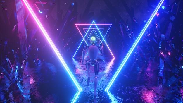 ネオンの幾何学的形状と結晶に沿って抽象的な宇宙空間を走るロボット。