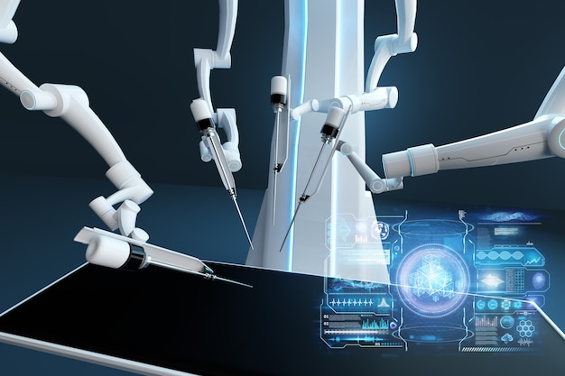 Robot surgeon, robotic equipment. minimally invasive surgical innovation with three-dimensional overview. technology, the future of medicine, surgeon. 3d render, 3d illustration.