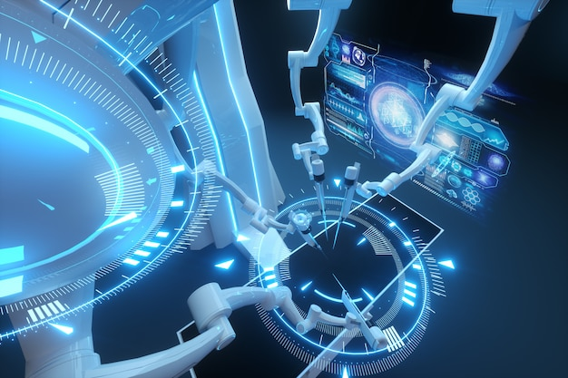 로봇 외과 의사, 로봇 장비. 3 차원 개요로 최소 침습 수술 혁신. 기술, 의학의 미래, 외과 의사. 3d 렌더링, 3d 일러스트 레이 션.