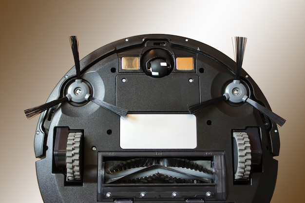 로봇 청소기가 자동 청소를 수행합니다. 가사와 기술 개념입니다.