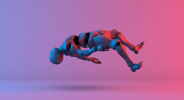 ロボットワイヤフレームフロートグラデーションの赤い紫色の背景