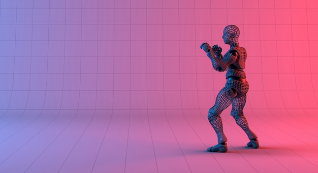 グラデーションの赤い紫色の背景にロボットワイヤフレームガードスタンス