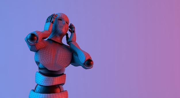 ロボットワイヤフレームがグラデーションの赤い紫色の背景で音を聞いた