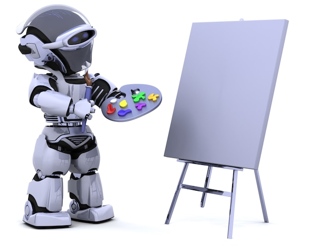 팔레트 및 페인트 브러시가있는 로봇