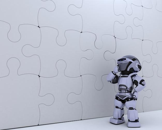 3d визуализации робота с головоломки бизнес метафоры
