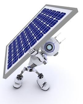 太陽電池パネルとロボットのレンダリング3d
