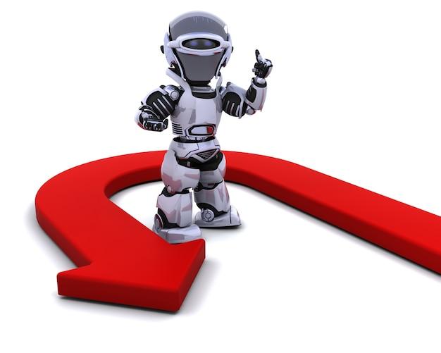 Uturn矢印の付いたロボットのレンダリング3d