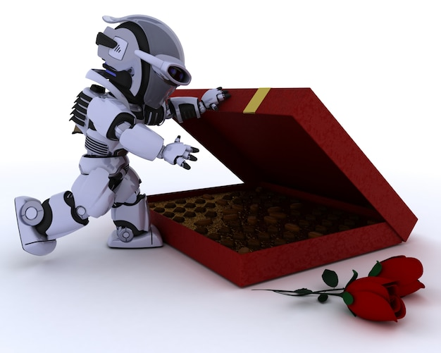 Robot with box of chocolates and red roses for valentine