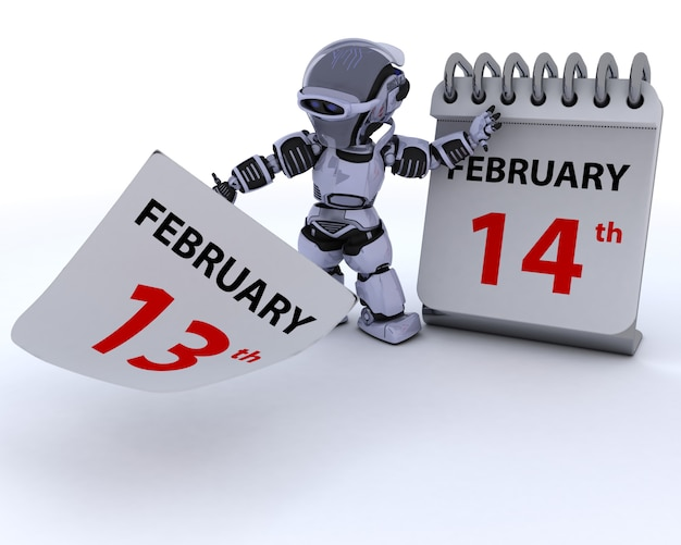 Robot with a calendar, february 14th