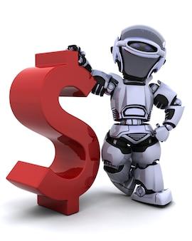 Robot with dollar symbol