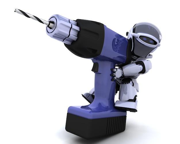 Robot with a drill