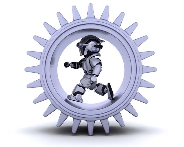 Il rendering 3d di robot con meccanismo ad ingranaggi