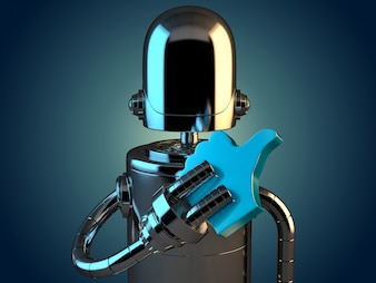 Robot with LIKE symbol. 3D illustration. Contains clipping path