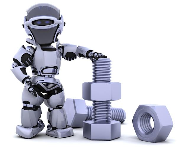 ナットとボルトとロボットのレンダリング3d