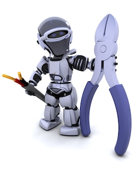 3d визуализации робота с кусачками и кабелем